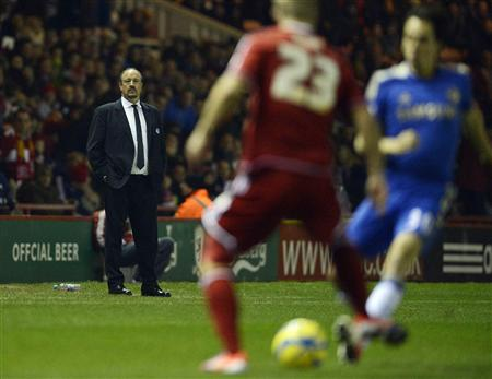 Chelsea's interim manager Benitez reacts during their English FA Cup soccer match against Middlesbrough in Middlesbrough
