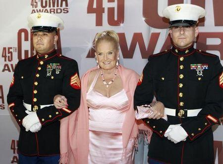 Country music singer Lynn Anderson arrives at the 45th Country Music Association Awards in Nashville
