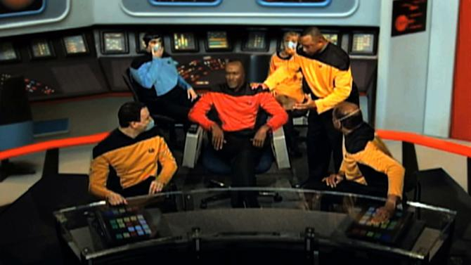 "This video image from an Internal Revenue Service video shows IRS employees portraying ""Star Trek"" characters in a video parodying the TV show that was made for a 2010 IRS training and leadership conference. The agency says the video, filmed at an agency studio in Maryland, along with a training video that parodied the TV show ""Gilligan's Island,"" cost about $60,000. The ""Star Trek"" video accounted for most of the money. The IRS on Friday, March 22, 2013 said it was a mistake for employees to make the six-minute video. (AP Photo/IRS)"