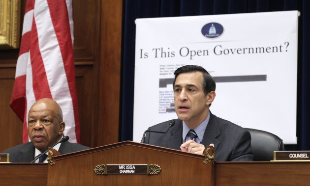 "FILE - In this March 31, 2011, file photo House Oversight and Government Reform Committee Chairman Rep. Darrell Issa, R-Calif., right, accompanied by the committee's ranking Democrat Rep. Elijah Cummings, D-Md., presides over the committee's hearing on the Freedom of Information Act on Capitol Hill in Washington. Acting on his promise to reinvigorate FOIA on his first day in office, President Barack Obama told all federal agencies to adopt a ""presumption in favor of disclosure"". But his administration couldn't keep pace with the increasing number of requests for copies of government documents, emails, photographs and more under the U.S. Freedom of Information Act, according to an Associated Press analysis of federal data over the last three years from 37 of the largest federal departments and agencies. (AP Photo/Carolyn Kaster, File)"