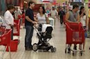 People make their shopping at a supermarket in Lisbon