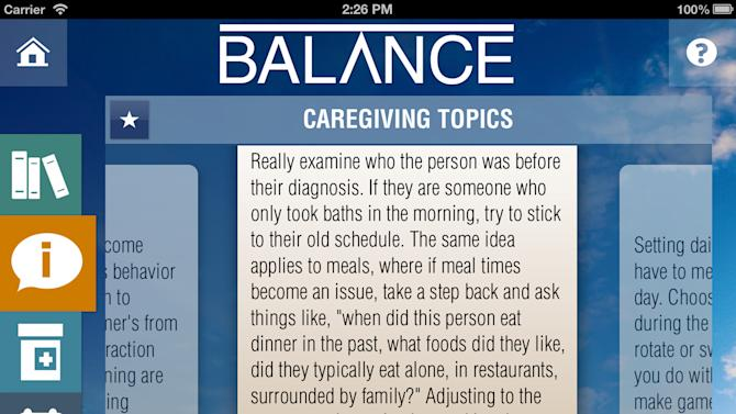 This screen grab provided by The Hebrew Home at Riverdale shows an app called Balance meant to help caregivers of patients with Alzheimer's disease. From message boards that provide emotional support to sophisticated apps that manage medications from afar, a variety of online tools cater to the beleaguered caretakers of Alzheimer's, heart disease and autism patients. (AP Photo/The Hebrew Home at Riverdale)