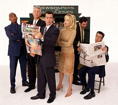 Michael Boatman, Barry Bostwick, Charlie Sheen, Heather Locklear, Richard Kind and Alan Ruck in ABC's Spin City Spin City