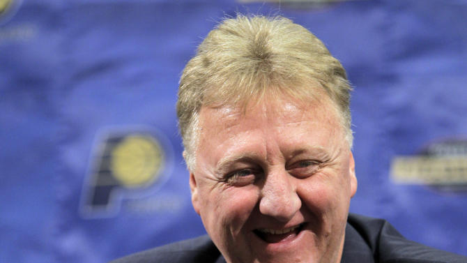 FILE - In this June 22, 2010, file photo, Indiana Pacers president Larry Bird talks about the NBA basketball team's prospects in the upcoming draft during a news conference in Indianapolis. Bird was voted the NBA's Executive of the Year on Wednesday, May 16, 2012, becoming the first person to win that award, plus the MVP and Coach of the Year honors. (AP Photo/Michael Conroy, File)