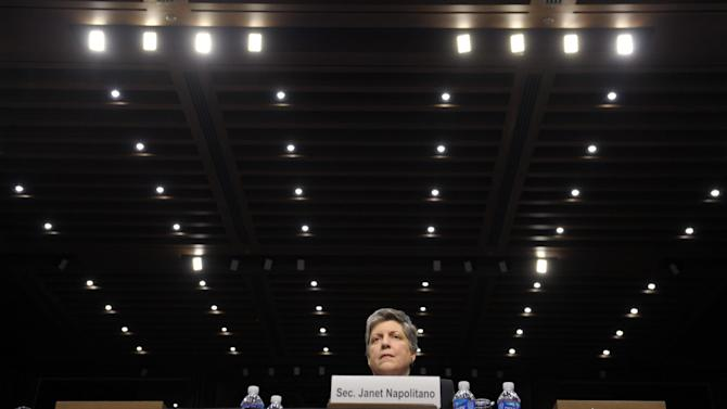 Homeland Secretary Janet Napolitano testifies on Capitol Hill in Washington, Wednesday, Feb. 13, 2013, before the Senate Judiciary Committee hearing on comprehensive immigration reform. (AP Photo/Susan Walsh)