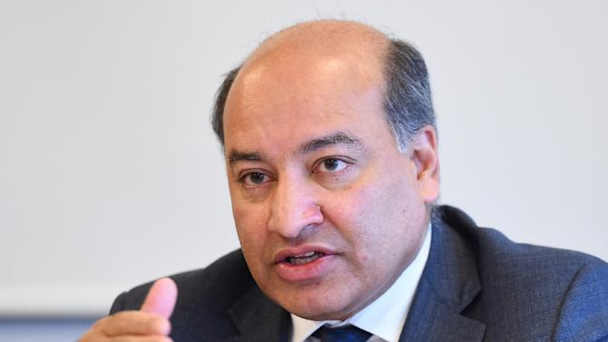 European Bank for Reconstruction and Development (EBRD) president Suma Chakrabarti speaks during a press conference in Brussels on March 3, 2015