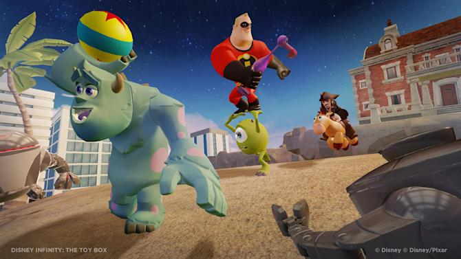 """This undated publicity photo released by the Walt Disney Company shows the video game, """"Disney Infinity: The Toy Box."""" With cartoony posters plastering the walls and action figures standing at attention on nearly every flat surface, a once mundane conference room at Walt Disney Interactive Studios has been transformed into the war room for """"Disney Infinity,"""" the company's ambitious project that combines real-life figurines with a virtual world. As colorful date-stamped orders and dozens of 4-inch-tall soldiers lined up across the room suggest, Disney is readying for a years-long siege, not just a one-time battle, for consumers' attention. (AP Photo/Walt Disney Company)"""