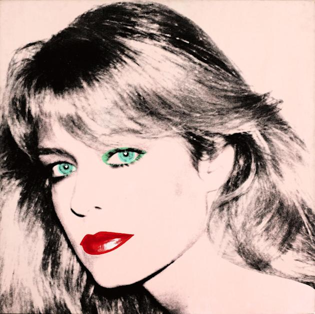 "This photo released by courtesy of the Blanton Museum of Art shows Andy Warhol's painting of ""Farrah Fawcett,"" 1980. The painting was bequeathed by Fawcett to the University of Texas at"