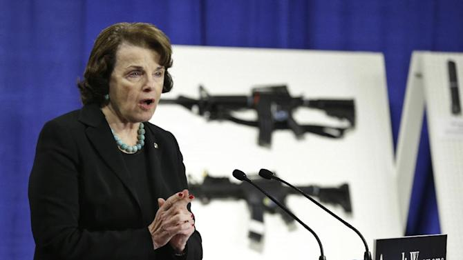 Sen. Dianne Feinstein, D-Calif. speaks during a news conference on Capitol Hill in Washington, Thursday, Jan. 24, 2013, to introduce legislation on assault weapons and high-capacity ammunition feeding devices. Congressional Democrats are reintroducing legislation to ban assault weapons but the measure faces long odds even after last month's mass school shooting in Newtown, Conn. The measure being unveiled Thursday is authored by Democratic Sen. Dianne Feinstein of California, who wrote the original assault weapons ban. That law expired in 2004 when Congress refused to renew it under pressure from the National Rifle Association.  (AP Photo/Manuel Balce Ceneta)