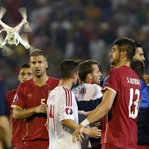 Drone carrying Albanian banner sparks fights on soccer field