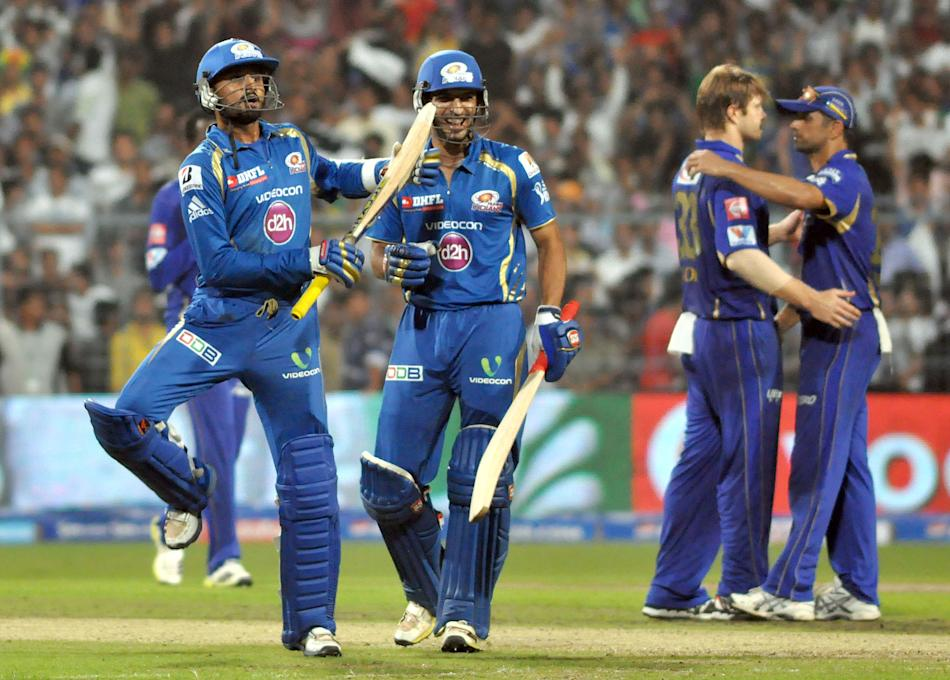 MI player Harbhajan Singh celebrate win the match between Rajasthan Royals and Mumbai Indians qualifier match at Eden Gardens in Kolkata on May 24, 2013. (Photo: IANS)