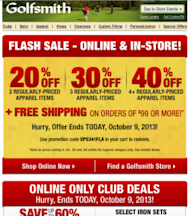 When is the Best Date and Time to Send Email? Who Cares! image golfsmith email 273x310