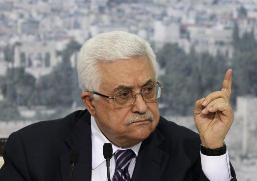 Palestinian President Mahmoud Abbas gestures as he speaks about his bid for statehood recognition at the United Nations next week, during a televised speech in the West Bank city of Ramallah