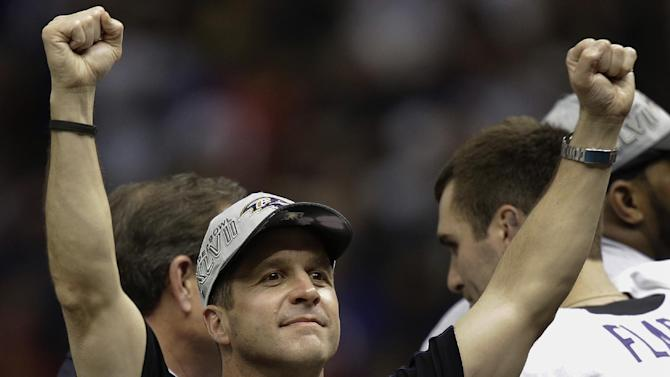Baltimore Ravens head coach John Harbaugh celebrates after defeating the San Francisco 49ers 34-31 in the NFL Super Bowl XLVII football game, Sunday, Feb. 3, 2013, in New Orleans. (AP Photo/Gene Puskar)