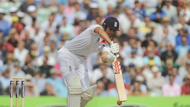 Rain prevented Alastair Cook from adding to his unbeaten 154 on day two
