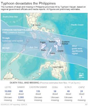 Map shows the path Typhoon Haiyan and a death toll/missing…