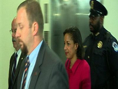 Raw: Susan Rice arrives on Capitol Hill