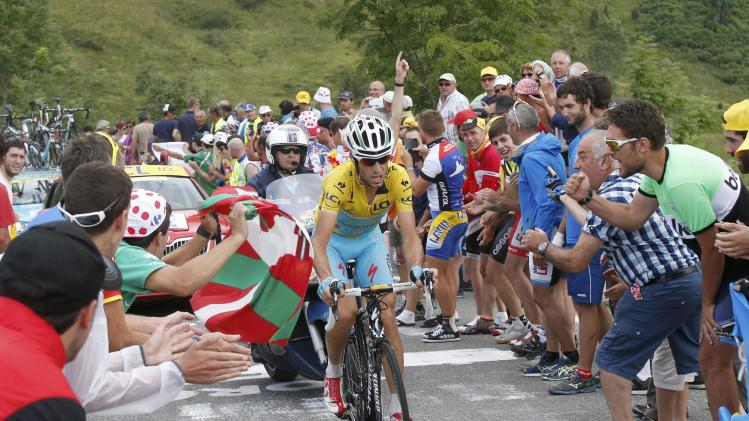 Race leader Astana team rider Vincenzo Nibali of Italy climbs to Hautacam to win the 145.5km 18th stage of the Tour de France cycling race
