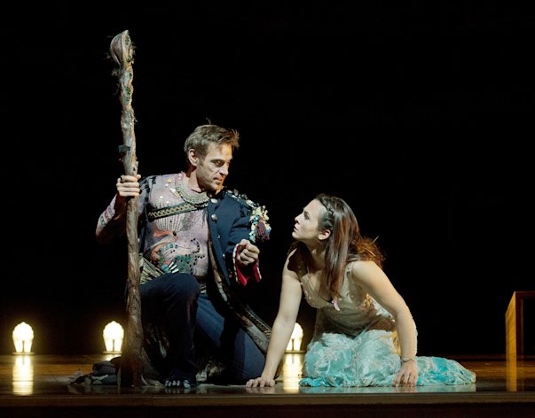 In this Oct. 15, 2012 photo provided by the Metropolitan Opera, Simon Keenlyside is Prospero and Isabel Leonard is Miranda during a dress rehearsal of Thomas Ads&#39;s &quot;The Tempest,&quot; at the Metropolitan Opera in New York. (AP Photo/Metropolitan Opera, Ken Howard)