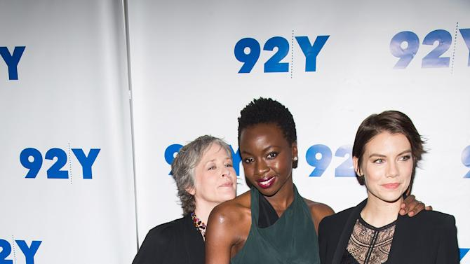 "Melissa McBride, from left, Danai Gurira and Lauren Cohan attend a screening and conversation with cast members from ""The Walking Dead"" at 92Y on Monday, Feb. 8, 2016, in New York. (Photo by Charles Sykes/Invision/AP)"