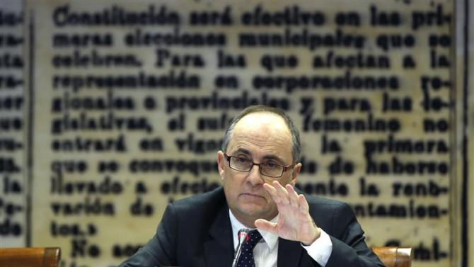 Bank of Spain Deputy Governor Fernando Restoy attends a news conference in Madrid