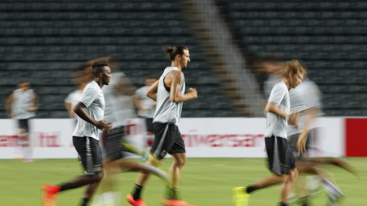 Paris Saint-Germain soccer player Ibrahimovic participates in a training session in Hong Kong