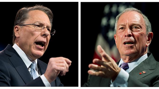 In this photo combo, Wayne LaPierre, left, CEO of the National Rifle Association, makes remarks at CPAC 2013, at the Gaylord National Resort & Convention Center in National Harbor, Md., Friday, March 15, 2013; and at right, New York City Mayor Michael Bloomberg speaks to the Economic Club of Washington, Wednesday, Sept. 12, 2012, in Washington. Two of the loudest voices in the gun debate say it's up to voters now to make their position known to Congress. LaPierre and Bloomberg claim their views on guns have the support of the overwhelming number of Americans. (AP Photo, Ron Sachs, Manuel Balce Ceneta)