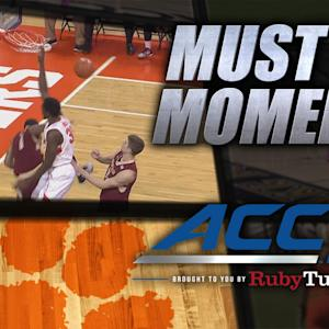 Clemson's Landry Nnoko Dunks on BC Defender | ACC Must See Moment