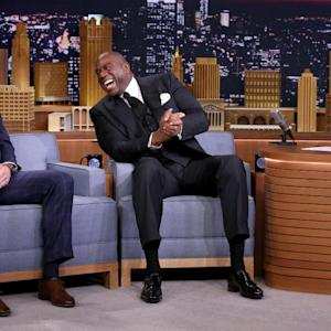 Magic Johnson recruits Peyton Manning to play for newly relocated Rams