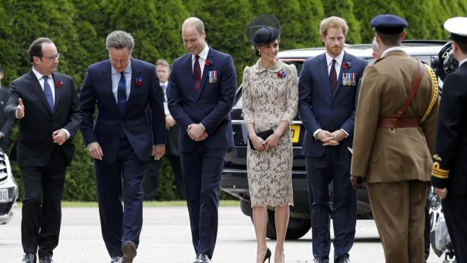French President Hollande, Britain's Prime Minister Cameron, Prince William and his wife Catherine, the Duchess of Cambridge and Prince Harry arrive to attend a ceremony at the Franco-British National Memorial in Thiepval near Albert