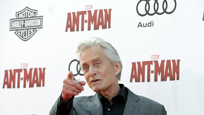 "Michael Douglas poses at premiere of Marvel's ""Ant-Man"" in Hollywood"