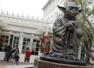 In this Aug. 2, 2011 photo, a life-sized replica of Yoda, George Lucas' master of the Force, is shown at Lucasfilm Ltd. production studios in San Francisco. The production studio is one of many special sites visited by fans. (AP Photo/Paul Sakuma)
