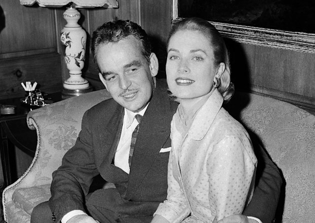 FILE - This Jan. 5, 1956 file photo shows American actres Grace kelly, right, with Prince Rainier III of Monaco in the home of Miss Kelly's parents in Philadelphia. Pennsylvania's James A. Michener Museum is hosting an exhibit that traces the Kelly's life from growing up in Philadelphia to starring in films and marrying Prince Rainier III. It opens at the museum on Oct. 31 and runs through Jan. 26, 2014. (AP Photo, file)