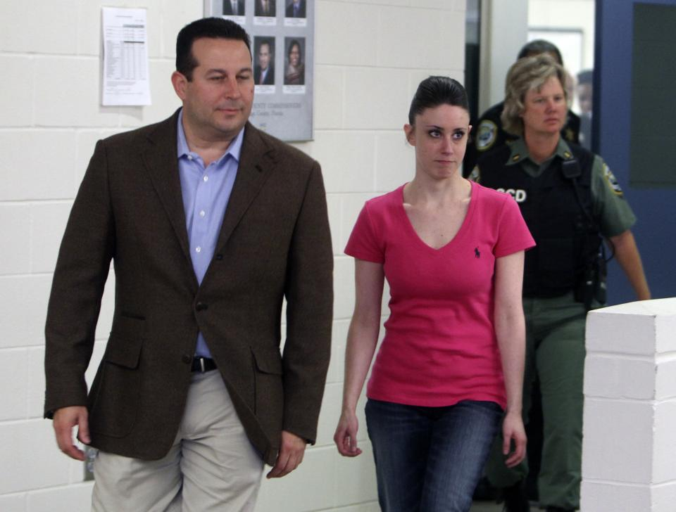 Casey Anthony, front right, walks out of the Orange County Jail with her attorney Jose Baez, left,  during her release in Orlando, Fla., early Sunday, July 17, 2011.  Anthony was acquitted last week of murder in the death of her daughter, Caylee. (AP Photo/Red Huber, Pool)