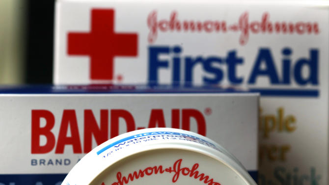 FILE - In this Monday, July 16, 2012, photo,  Johnson & Johnson products are displayed in Orlando, Fla. Johnson & Johnson's third-quarter profit fell 7 percent as increased research and production costs offset higher sales for its medicines and medical devices and new revenue from its biggest acquisition ever. (AP Photo/John Raoux, File)