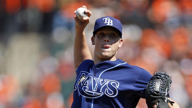 Tampa Bay Rays starting pitcher Jeremy Hellickson throws to the Baltimore Orioles during the second inning of a baseball game in Baltimore, Thursday, Sept. 13, 2012. (AP Photo/Patrick Semansky)