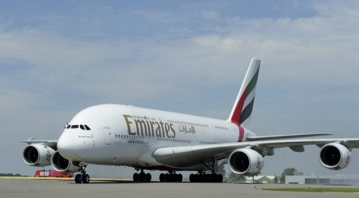 <p>Emirates Airlines Airbus A380, pictured in August. An engine problem has forced an Emirates A380 superjumbo to turn back to Sydney, the airline said Monday, with passengers hearing a loud bang and seeing a flash of orange.</p>