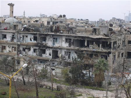 Damaged buildings are seen in al-Bayada district in Homs December 13, 2012. Picture taken December 13, 2012. REUTERS/Yazan Homsy