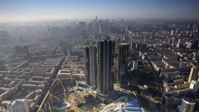 A construction site of high-rise buildings is seen in the middle of the city in Shenyang