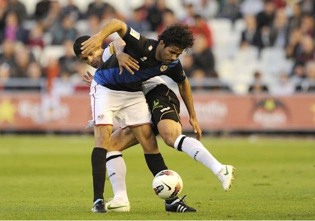 Rayo Vallecano's Forward Costa (L) Vies AFP/Getty Images