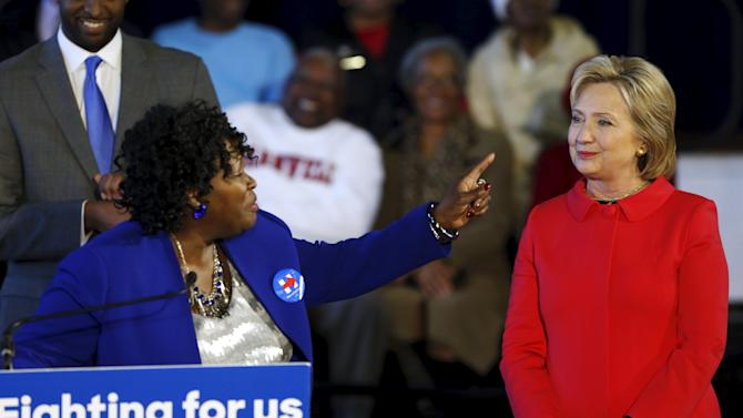 Bamberg County Schools Superintendent Sojourner introduces Democratic U.S. presidential candidate Hillary Clinton during a forum at Denmark-Olar Elementary School in South Carolina