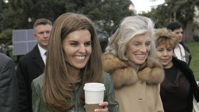 "FILE -- In this Jan. 4, 2007 file photo, Maria Shriver, left, wife of California Gov. Arnold Schwarzenegger, her mother, Eunice Kennedy Shriver, center and family housekeeper Mildred Baena, right, leave Capitol Park in Sacramento, Calif. In an interview with ""60 minutes"" that is scheduled to air Sunday, Schwarzenegger says the affair he had with Baena, that led to a son, was ""the stupidest thing"", he ever did to then wife Maria Shriver who filed for divorce last July. (AP Photo/Rich Pedroncelli)"