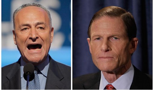 Troubled by reports of the practice of employers asking for Facebook passwords during job interviews, Democratic Sens. Chuck Schumer of New York, left, and Richard Blumenthal of Connecticut said they are calling on the Department of Justice and the U.S. Equal Employment Opportunity Commission to launch investigations. The senators are sending letters to the heads of the agencies their offices announced Sunday March 25, 2012.