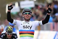 Britain&#39;s Mark Cavendish, of team Sky Procycling celebrates as he wins the second stage of the Giro d&#39;Italia. Cavendish showed his sprint rivals he is still the man to beat as he won the second stage around Herning on Sunday