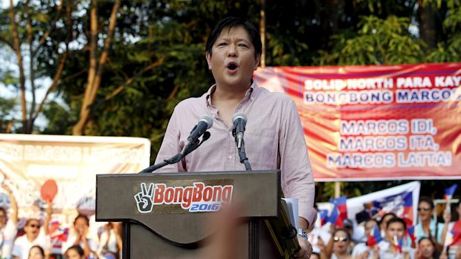 Philippine Senator Ferdinand Marcos Jr announces his Vice-Presidential bid for May 2016 national election during a political rally in Manila