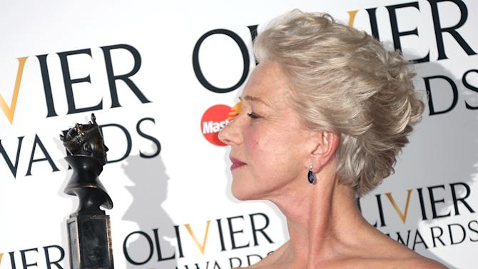 Helen Mirren winner of Best Actress Award for The Audience  in the press room at the Olivier Awards 2013 at the Royal opera House in London on Sunday, April 28th, 2013. (Photo by Joel Ryan/Invision/AP)