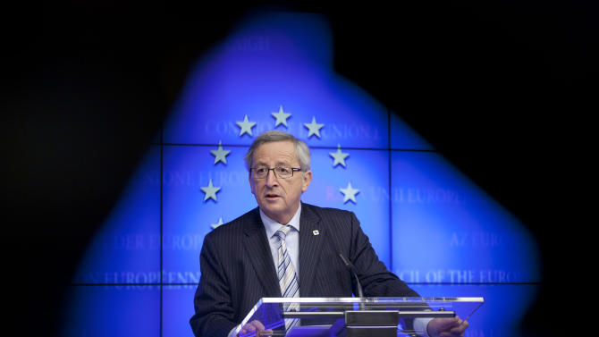 Luxembourg's Prime Minister Jean-Claude Juncker speaks during a media conference after a meeting of eurogroup finance ministers in Brussels on Thursday, Dec. 13, 2012. The European Union on Thursday took a major step towards one of the most important transfers of financial authority away from national capitals when its member states agreed to create a single supervisor for their banks. (AP Photo/Virginia Mayo)