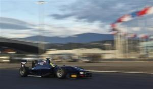 A Russian Time GP2 car drives at the newly opened Sochi International Street Circuit in Sochi