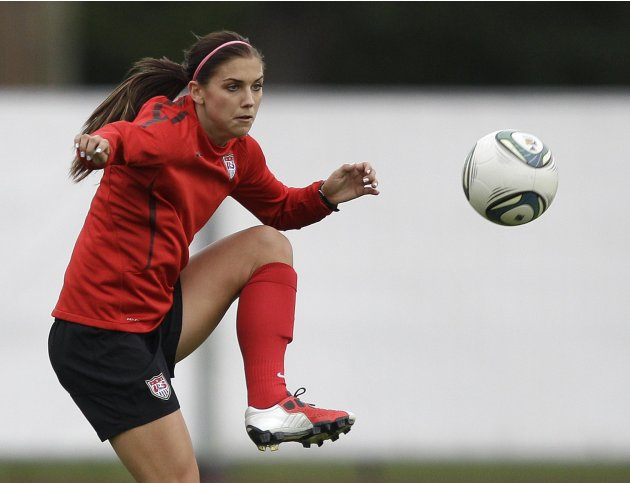 United States' Alex Morgan traps a pass during a training session in preparation for the final match against Japan during the WomenÕs Soccer World Cup in Frankfurt, Germany, Thursday, July 14, 2011. (