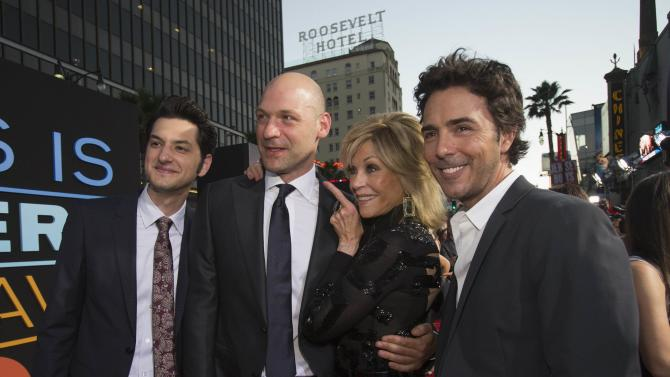 "Director Levy poses with cast members Schwartz, Stoll and Fonda at the premiere of ""This Is Where I Leave You"" in Hollywood"